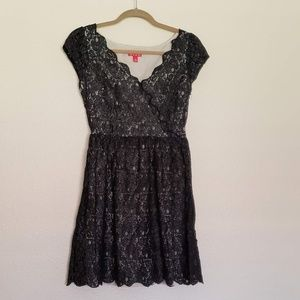 Elle Black Lace Shimmer Dress